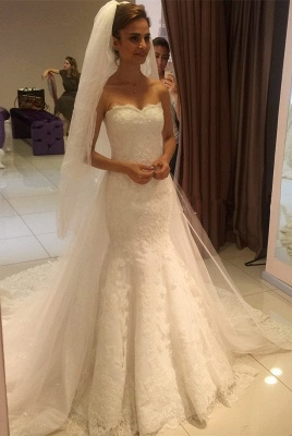 Glamorous Sweetheart Lace Mermaid 2020 Wedding Dress_1