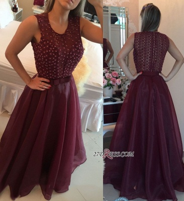 Burgundy evening dress, 2020 prom dress with pearls_2