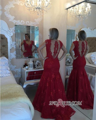 Mermaid Delicate V-neck Red Pearls Lace Cap-Sleeve Prom Dress_1