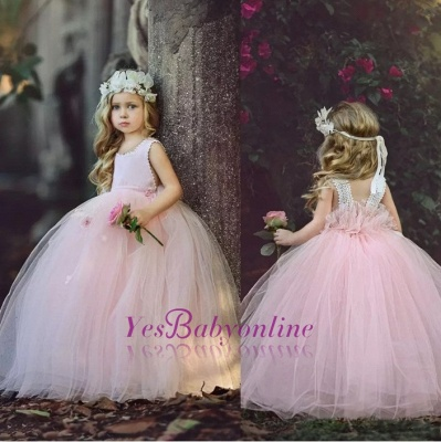 Ball-Gown Long Pink Cute Flower Girl Dresses BA6882_1