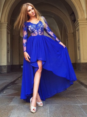 Delicate Royal Blue Long Sleeve A-line Homecoming Dress | Hi-Lo Party Gown_1