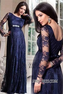 Navy Blue Long Sleeve Lace Maternity Dresses | Cheap Open Back Pregnant Dresses Online_2