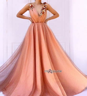 Orange Flower Appliques A-Line Prom Dress | Straps Sleeveless Tulle Evening Gown_3