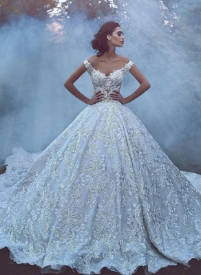 Glamorous Off-the-Shoulder Lace Wedding Dress | 2020 Mermaid Bridal Gowns On Sale_1