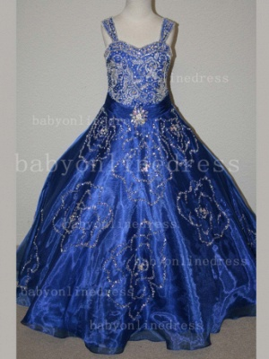 Beaded Girls Pageant Dresses for Sale Hot Beautiful 2020 Straps Crystal Organza Gowns for Sale_3