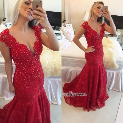 Mermaid Delicate V-neck Red Pearls Lace Cap-Sleeve Prom Dress_3
