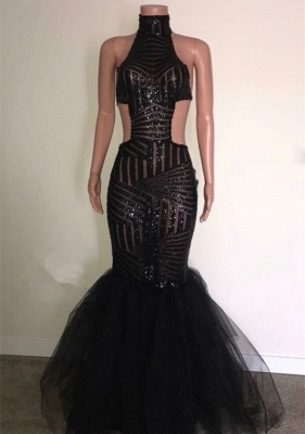 Charming Black Sequins Prom Dresses | 2020 Mermaid Sleeveless Long Evening Gowns_1