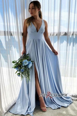 Amazing A-line Side-Split V-neck Prom Dresses_1