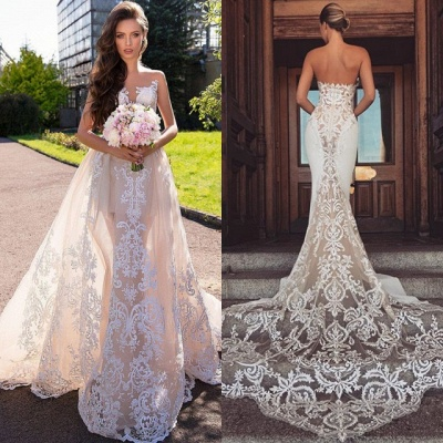 Chic Sleeveless Lace Wedding Dresses | 2020 Long Tulle Ruffles Wedding Gowns BC1777_4
