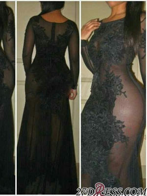 Sexy Black See Through 2020 Prom Dress Long Sleeve On Sale_2