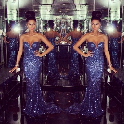 Glamorous Sweetheart Mermaid Prom Dresses Sequined Sexy Evening Dresses_2