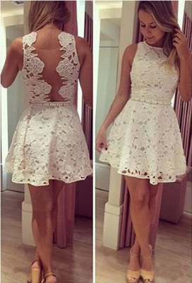 Newest Lace Jewel Mini Homecoming Dress 2020 Sleeveless High Quality_1