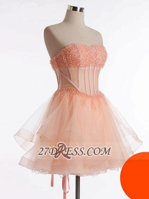 Modern Semi-sweetheart Sleeveless Short Homecoming Dress Beadings Lace-up Tulle Cocktail Gown_1