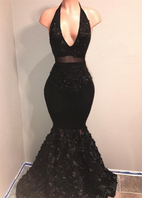 Black V-Neck 2020 Prom Dress | Mermaid Evening Gown With Flowers Bottom BA9153_1