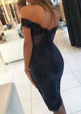 2020 Fashion Off-the-Shoulder Short Prom Gowns   Mermaid Lace Appliques Homecoming Dresses_2