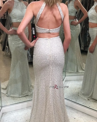 Beautiful Two-Pieces Halter Backless Mermaid Evening Dresses_1