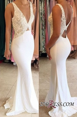 Sexy Deep-V-Neck Sleeveless Open-Back Mermaid New-Arrival Evening Dresses_2