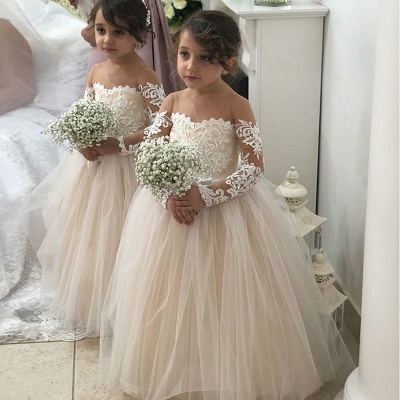 Lovely Long Sleeves Lace Flower Girl Dress | 2020 Tulle Girls Pageant Dress_4