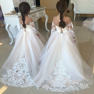 Lovely Long Sleeves Lace Flower Girl Dress | 2020 Tulle Girls Pageant Dress_3