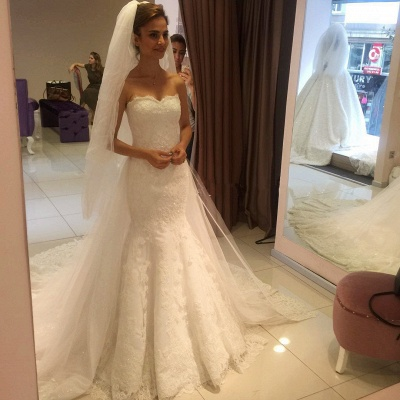 Glamorous Sweetheart Lace Mermaid 2020 Wedding Dress_3