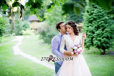 3/4-Length-Sleeve Long Lace Pink Tulle Royal Wedding Dress_1