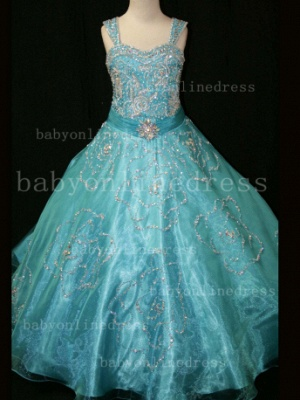 Beaded Girls Pageant Dresses for Sale Hot Beautiful 2020 Straps Crystal Organza Gowns for Sale_2