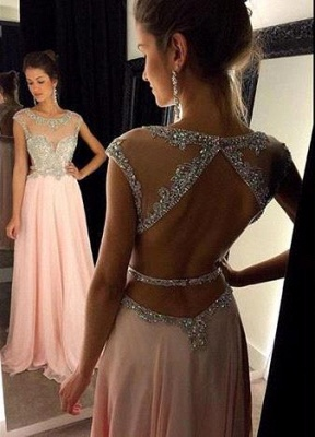 Gorgeous Scoop Long Chiffon Prom Dress 2020 Crystals Open Back AP0_2