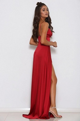 Simple Sleeveless A-Line Front Split Spaghetti Strap Prom Gown | Red V-Neck Floor-Length Evening Dress On Sale_3
