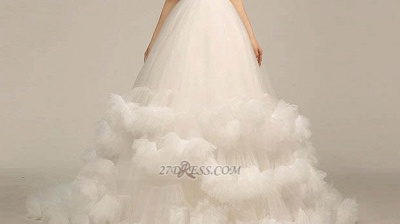 One Shoulder Sweetheart Tulle Wedding Dress Floor Length With Ruffles Princess Bridal Gowns_3