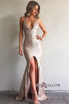 Front-Split V-Neck Sequined Sexy Backless Mermaid Prom Dress BA6840_3