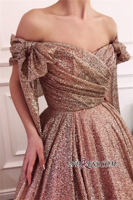 Off-The-Shoulder Sequins Evening Dress | Glamorous Sleeveless A-Line Prom Gown_4