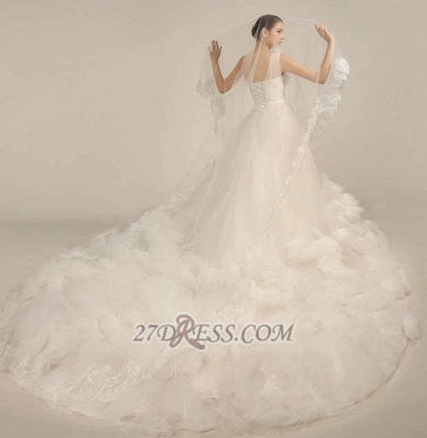 One Shoulder Sweetheart Tulle Wedding Dress Floor Length With Ruffles Princess Bridal Gowns_2