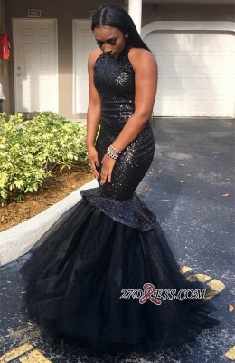 Sequins Mermaid Sleeveless High-Neck Black Sexy Yulle Gorgeous Prom Dress JJ0124 BK0_2