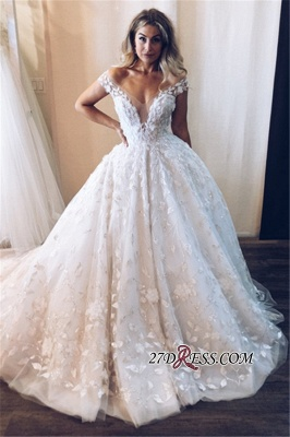 Elegant Floral Ball Gown Wedding Dresses | Off The Shoulder Appliques Bridal Gowns_2