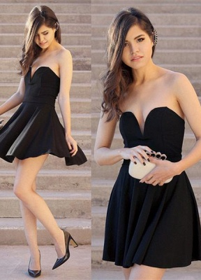 Newest Black Sweetheart Mini Homecoming Dress 2020 Sleeveless High Quality_1