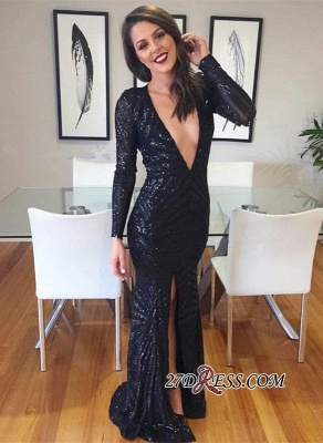 Black V-neck Evening Gowns | Sequined Prom Dress With Split_2