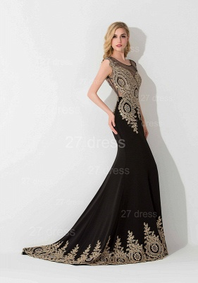 Sexy Lace Appliques Mermaid Evening Dress Sweep Train_2