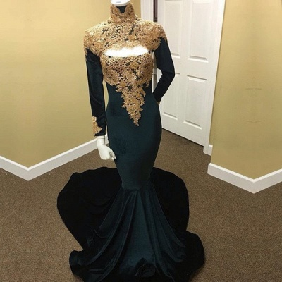 Long Sleeve High Neck Prom Dress | 2020 Mermaid Evening Dress With Appliques_3