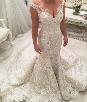 Charming Sleeveless Mermaid Lace Wedding Dresses | 2020 Long Bridal Gowns On Sale_2
