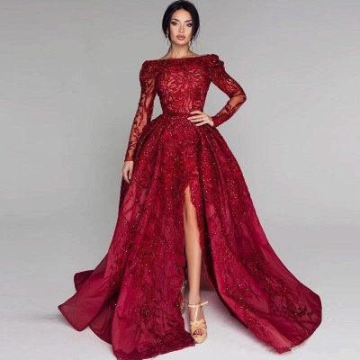 Glamorous Long Sleeve Lace Prom Dress | 2020 Split Puffy Open-Back Evening Gowns BC0652_3