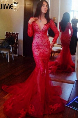 Glamorous V-neck Red Mermaid Prom Dress Long Sleeve With Lace Appliques_2