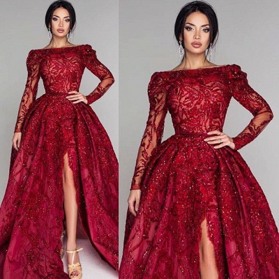 Glamorous Long Sleeve Lace Prom Dress | 2020 Split Puffy Open-Back Evening Gowns BC0652_4