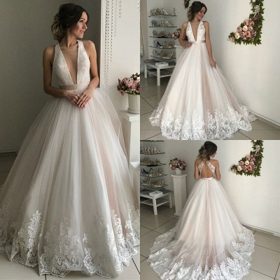 Gorgeous V-Neck Sleeveless Wedding Dresses | Lace 2020 Bridal Gowns_4