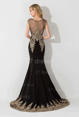 Sexy Lace Appliques Mermaid Evening Dress Sweep Train_3