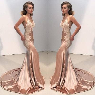 V-neck Backless Lace Prom Dress | 2020 Mermaid Long Evening Gowns BA8287_5