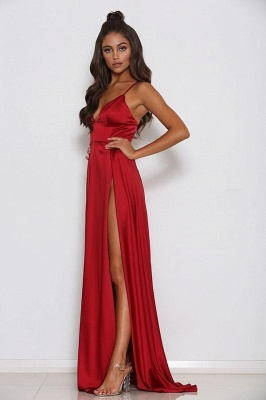 Simple Sleeveless A-Line Front Split Spaghetti Strap Prom Gown | Red V-Neck Floor-Length Evening Dress On Sale_2