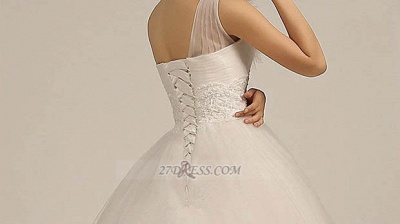 One Shoulder Sweetheart Tulle Wedding Dress Floor Length With Ruffles Princess Bridal Gowns_4