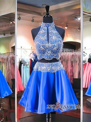 2020 Sleeveless Beads Two-Piece Mini High-Neck Delicate Homecoming Dress_3