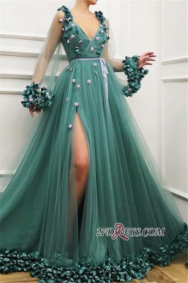 Green Long-Sleeves A-Line Prom Gown | Gorgeous Side-Slit V-Neck Tulle Long Prom Dress_3
