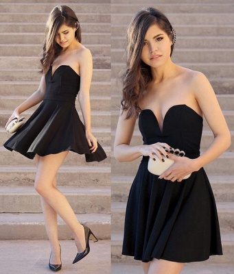 Newest Black Sweetheart Mini Homecoming Dress 2020 Sleeveless High Quality_3